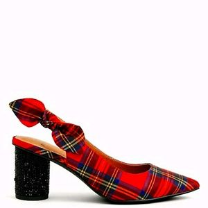 Torrid Betsey Johnson Red Plaid Cylinder Heels